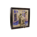 "Schlüsselboard ""Fahrrad"" Bronze Patiniert, Onyx & Eschenholz"