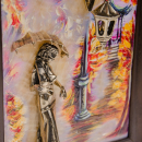"""Gemälde """"Mädchen mit Regenschirm. Herbst"""""""