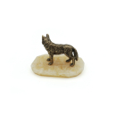 Bronzefigur stolzer Wolf auf Onyx Naturstein