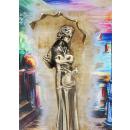 """Gemälde """"Mädchen mit Regenschirm Promenade Segelboote"""