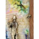 """Gemälde """"Junge mit einer Rose. Promenade. Segelboote - dreidimensionales Gemälde"""