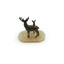 Bronzefigur Rehmutter mit Ihrem Kitz auf Naturstein