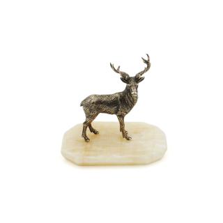 Bronzefigur Hirsch auf Naturstein